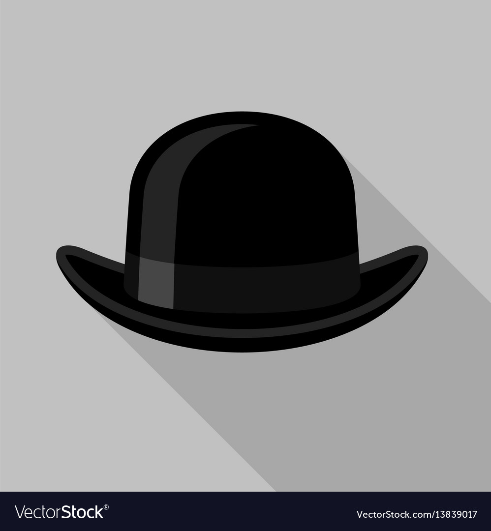 Black bowler hat icon flat style