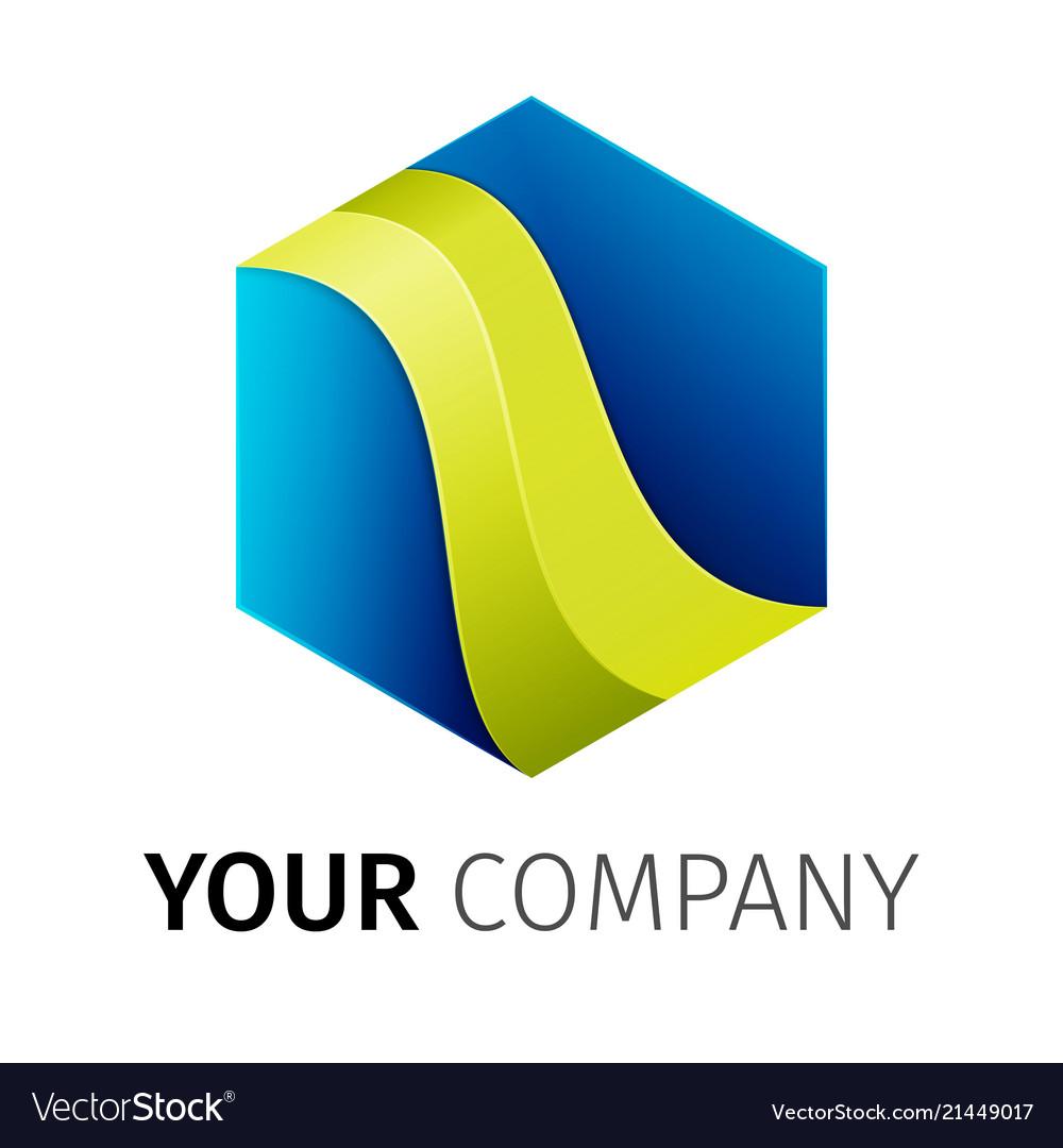 Blue and green hexagon logo
