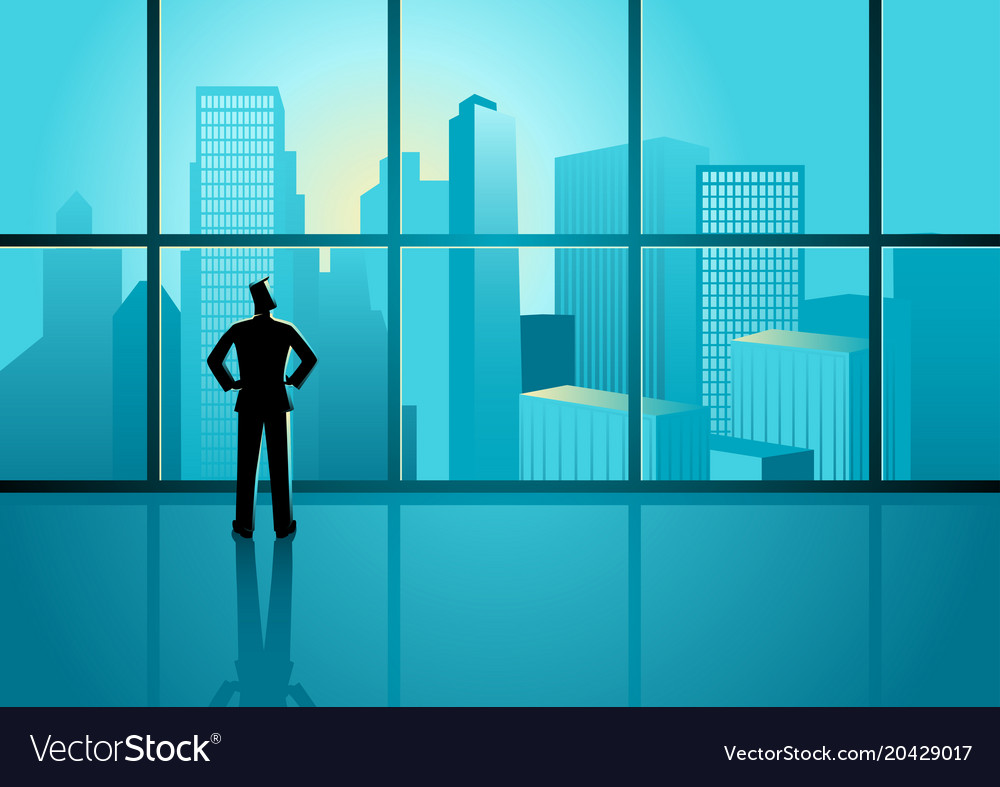 Businessman looking on cityscape through the