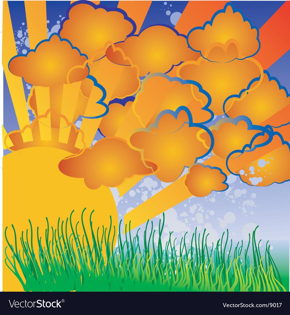 cartoon sun and clouds. Cartoon Nature Sun Clouds