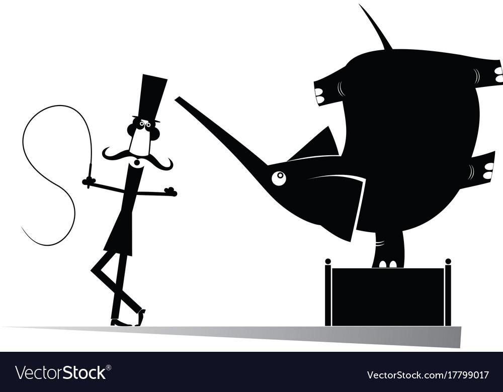 Cartoon tamer and elephant silhouettes