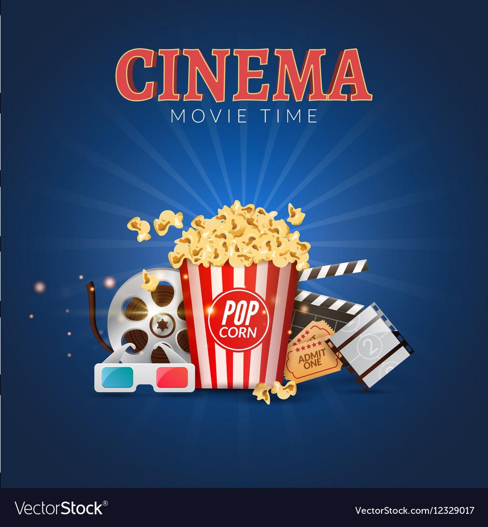 cinema movie poster design template popcorn vector image