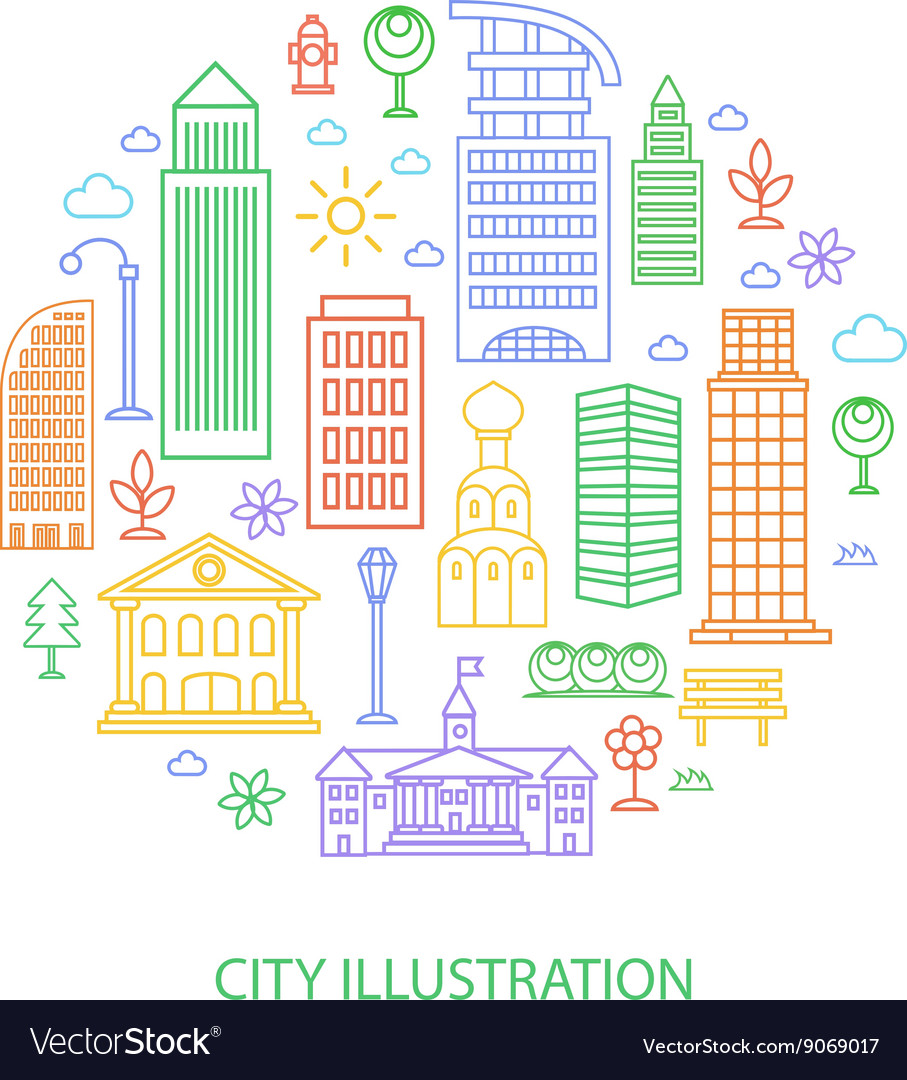 City in linear style