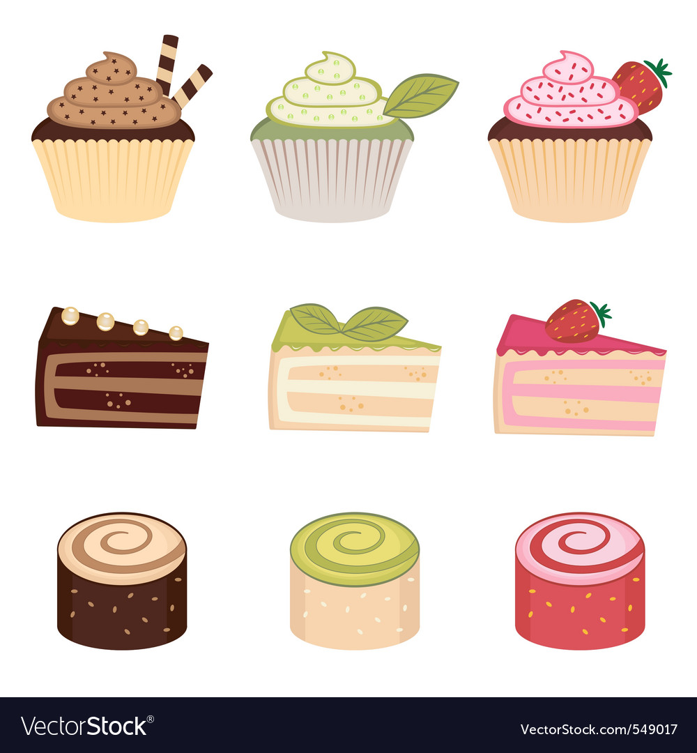 Colorful desserts set vector image