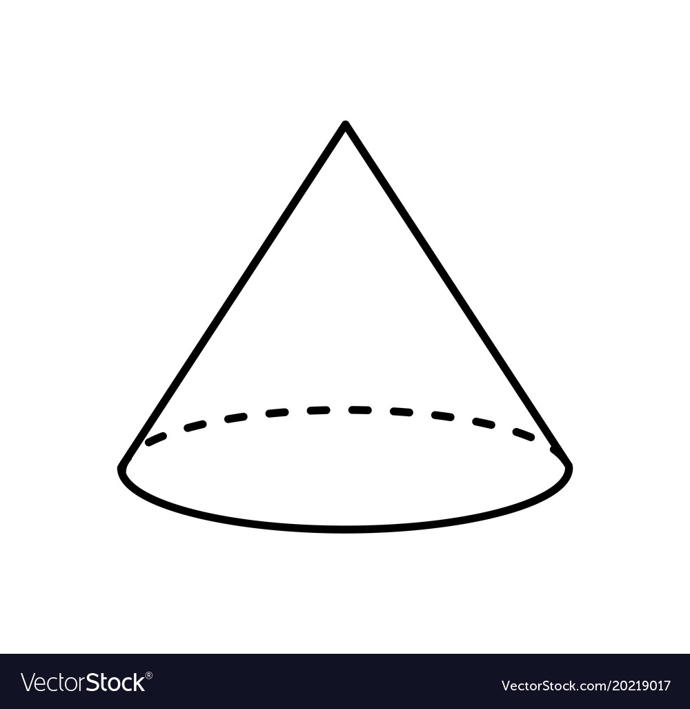 Types Of Cone Shapes: Cone Of White Color Linear Sketch Geometric Shape Vector Image