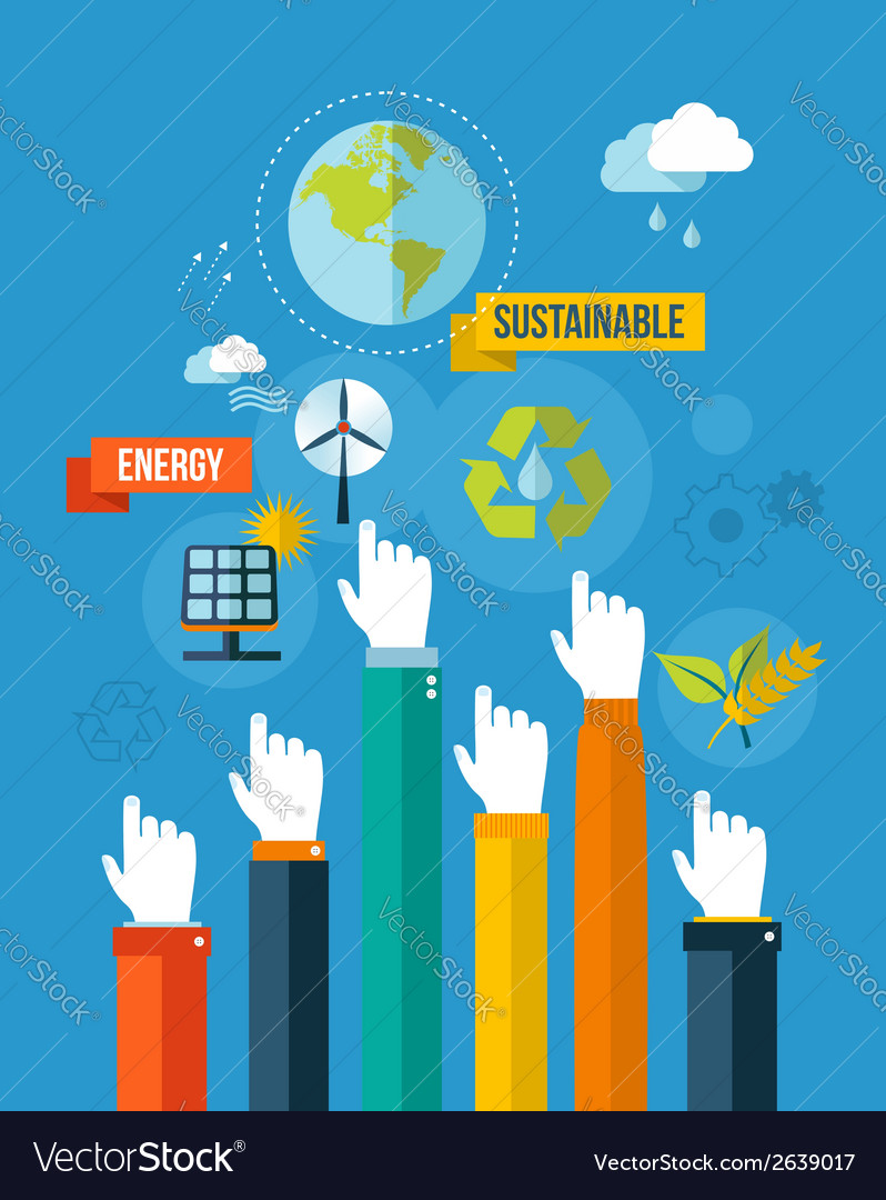 Go green sustainable energy concpet
