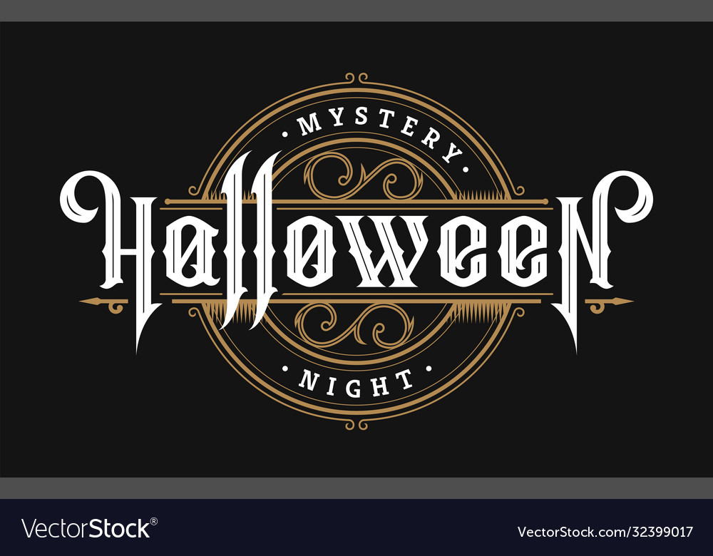 Halloween night vintage style emblem on a dark