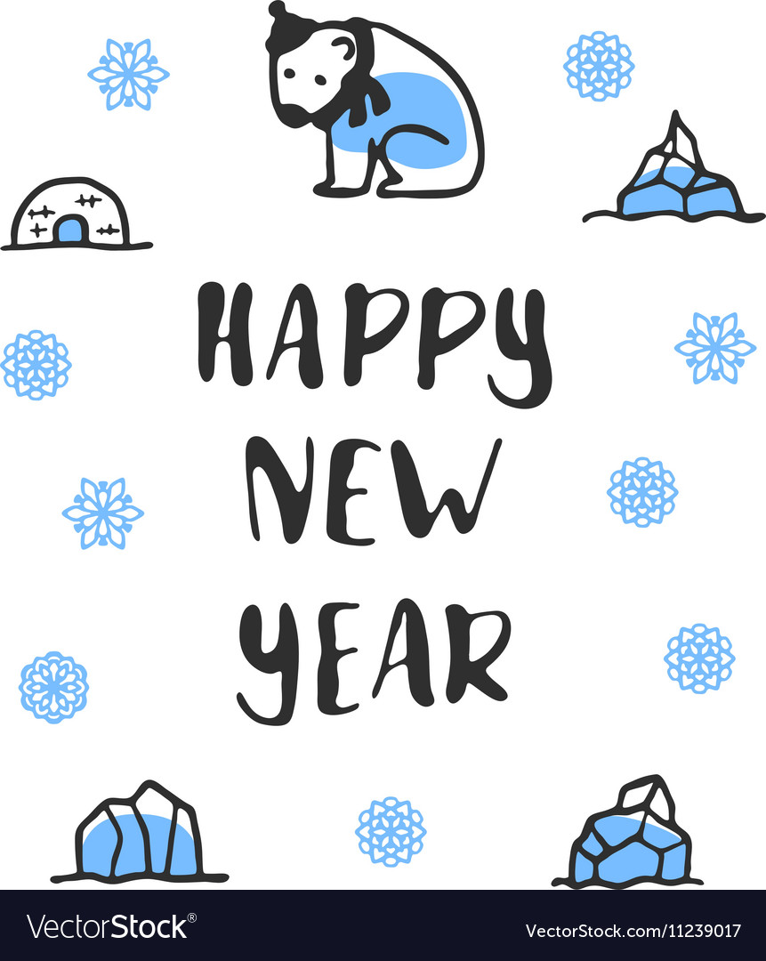 Happy new year poster with lettering Funny doodle Vector Image