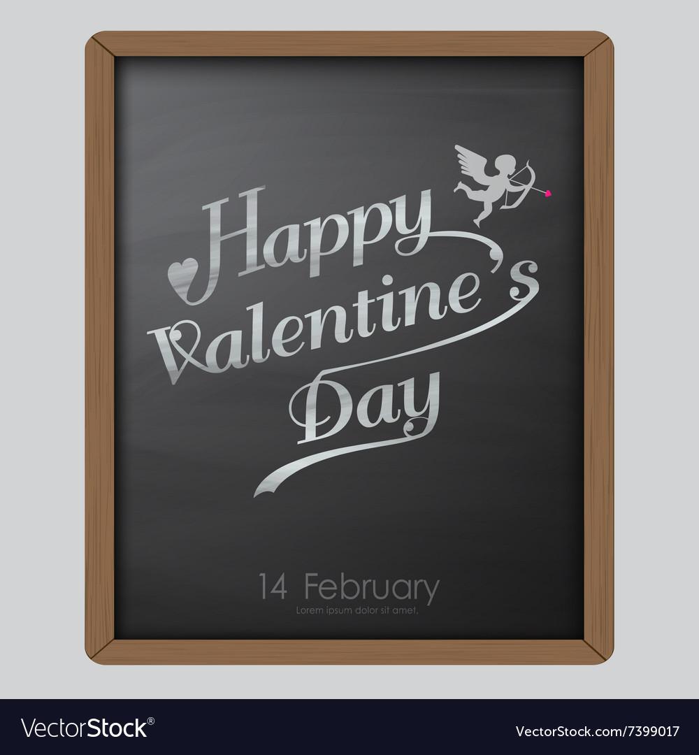 Happy valentine day typography drawing on chalkboa