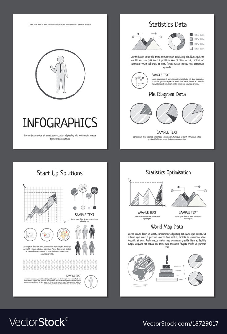 Infographics with various data on paper sheets