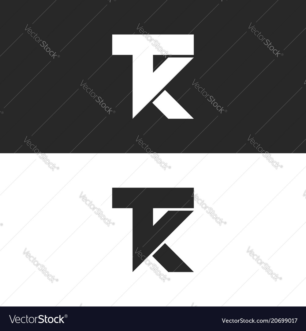 Letters tk logo monogram combination two letters