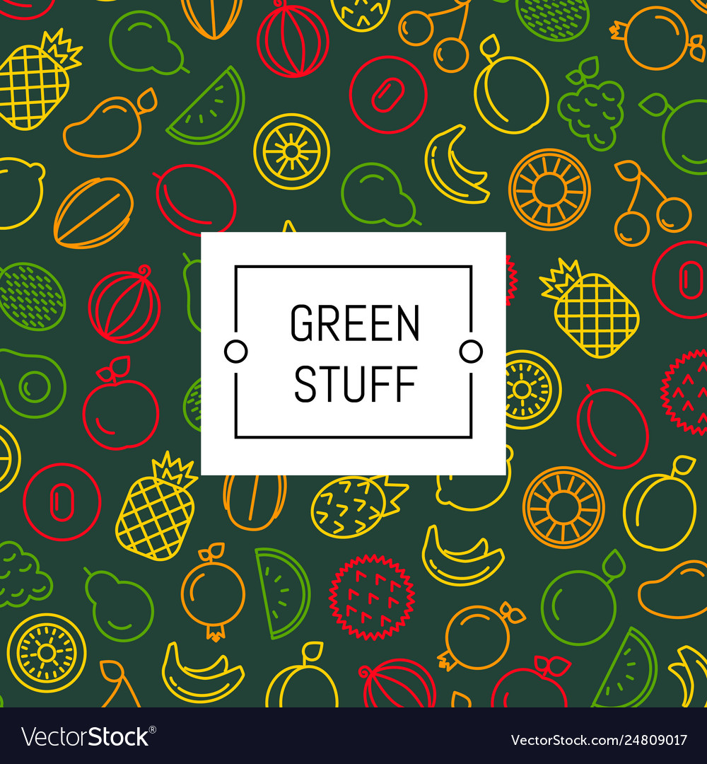 Line fruits icons background with place