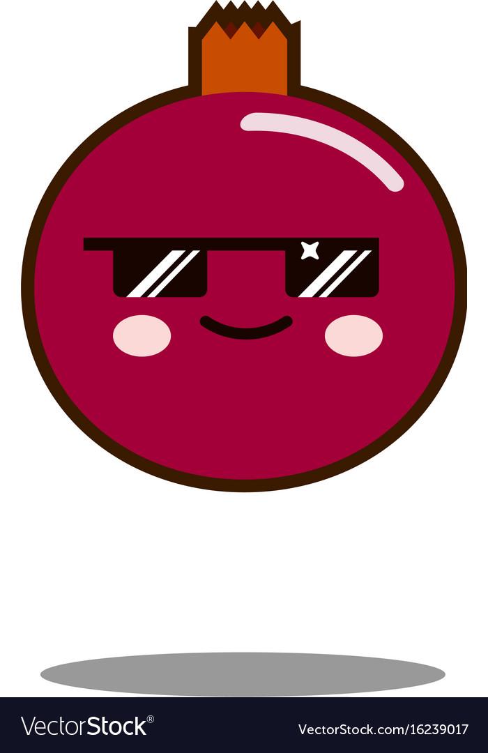 Pomegranate fruit cartoon character icon kawaii
