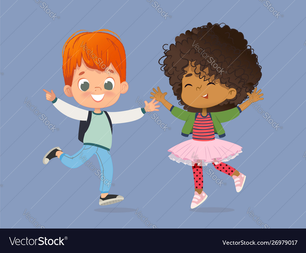 School kids boy and girl are happily jump together