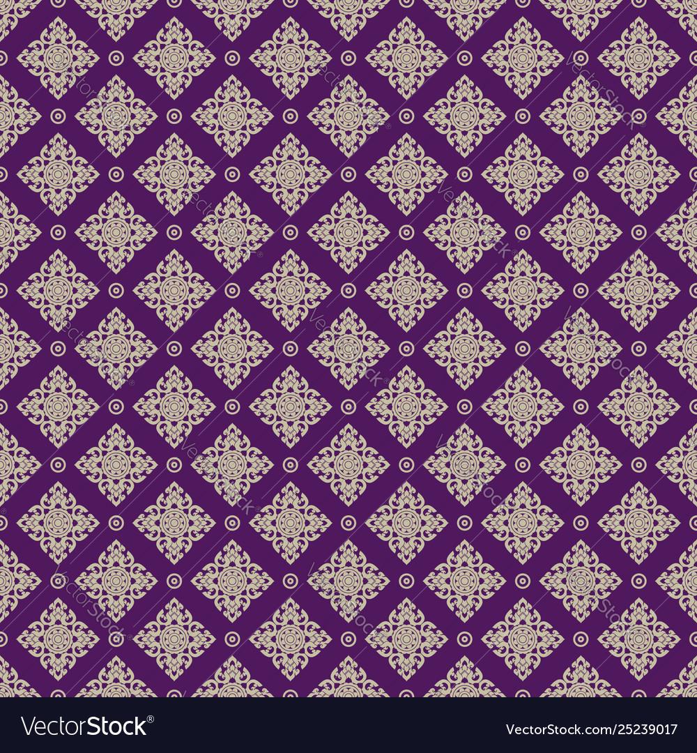 Seamless line thai gold pattern on purple
