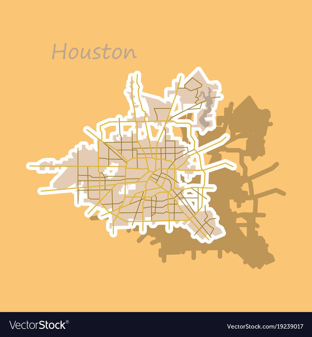 Sticker map houston city texas roads vector image