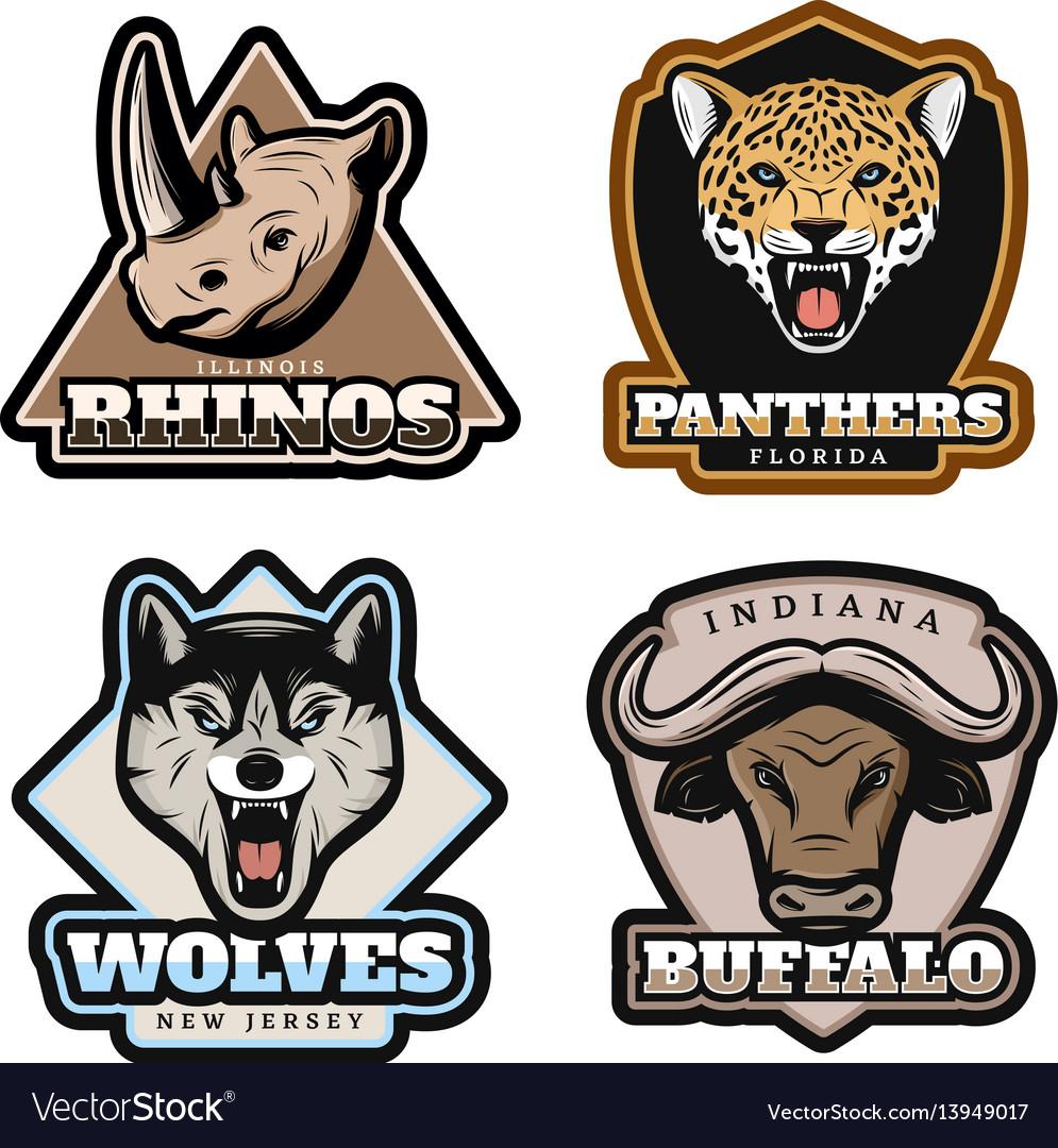 Vintage colorful animals emblems set