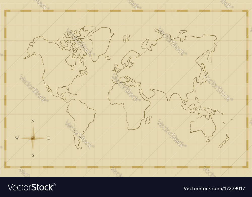 Vintage world map old hand drawn art vector image