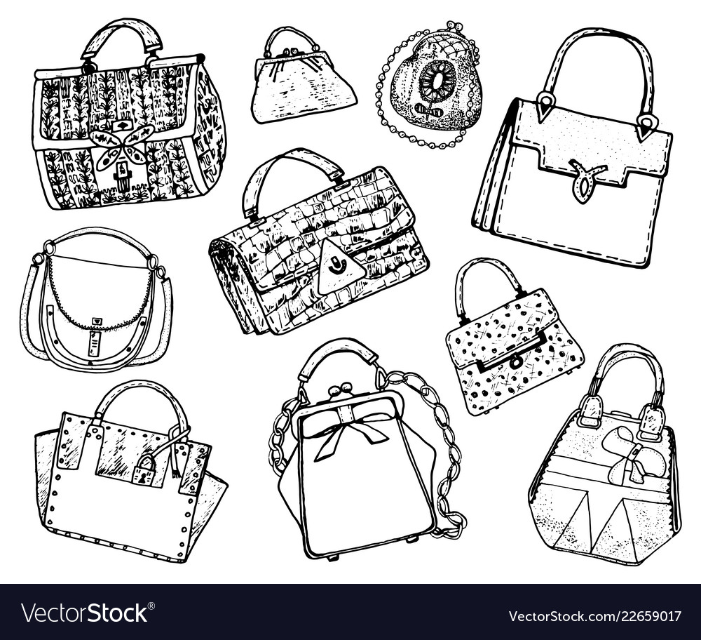 Women s bags vintage style hand drawn doodle