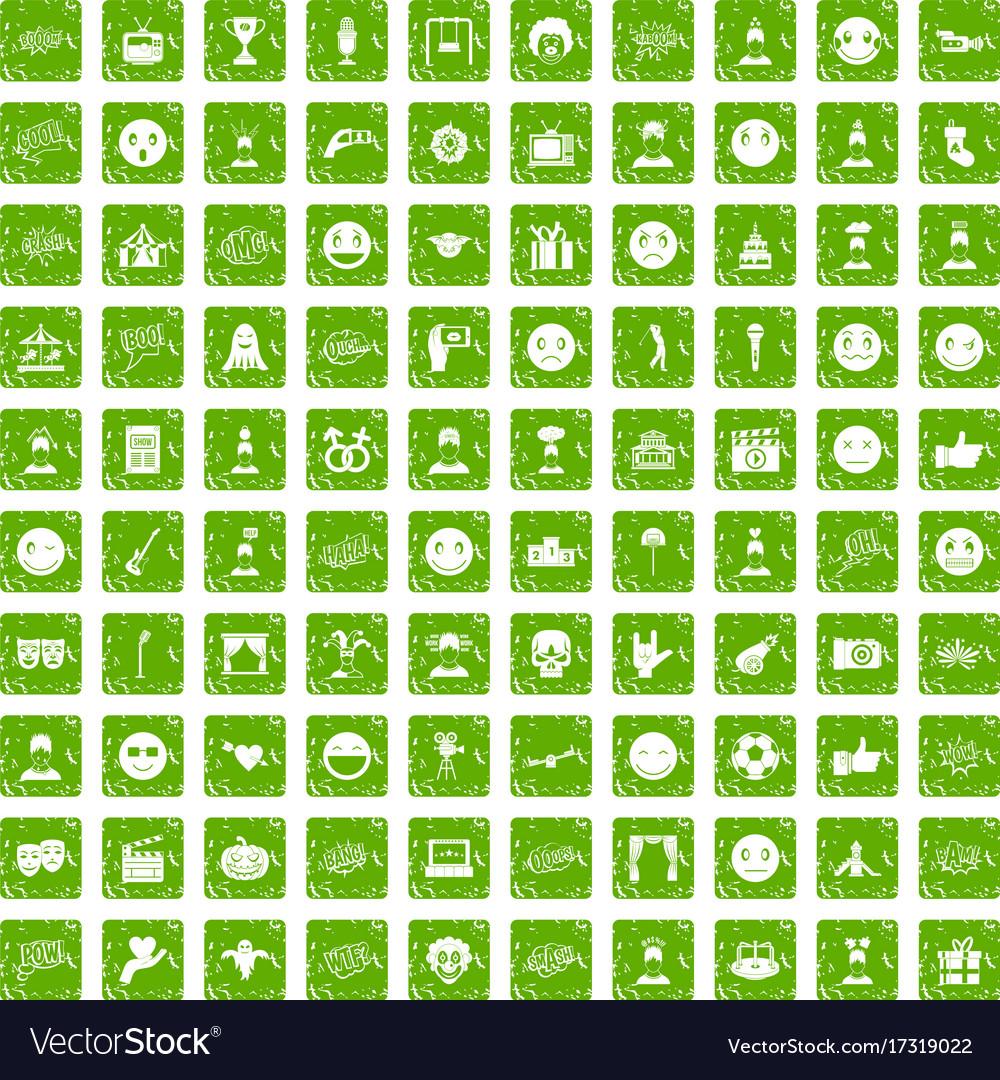 100 emotion icons set grunge green