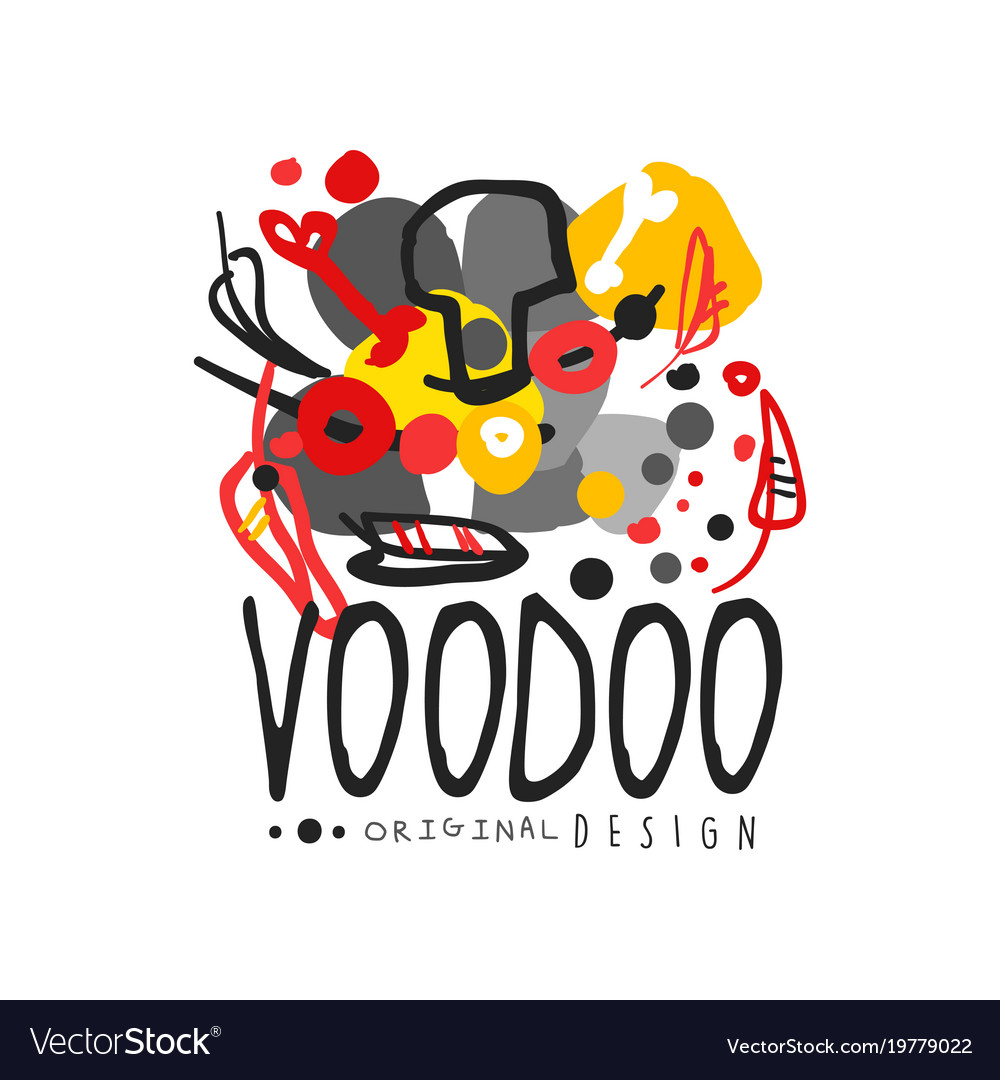 Abstract kid s style drawing for voodoo magic logo