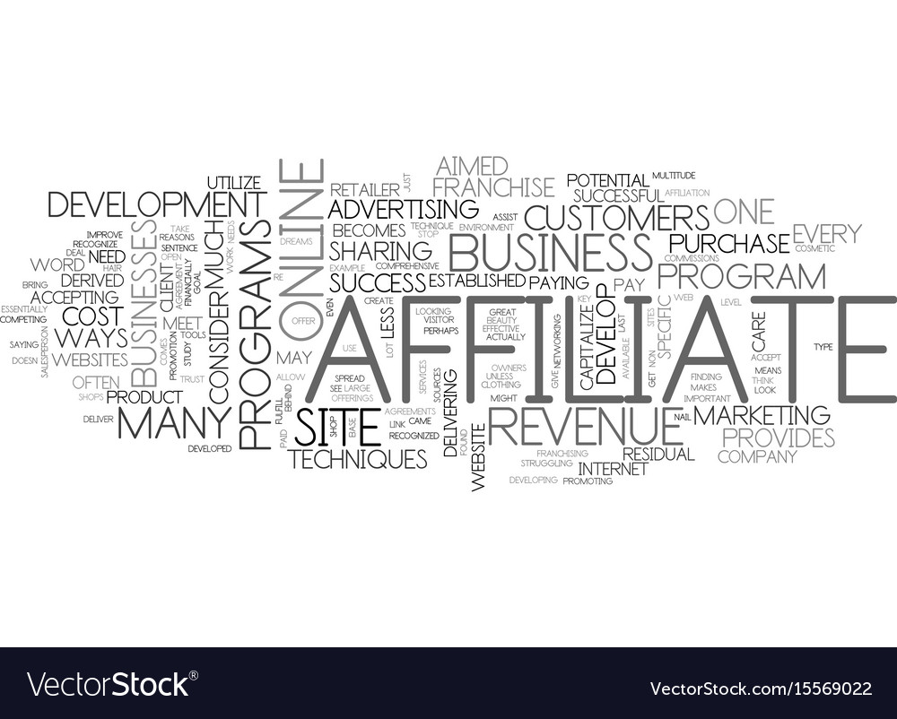 Affiliate revenue develop a franchise text word vector image