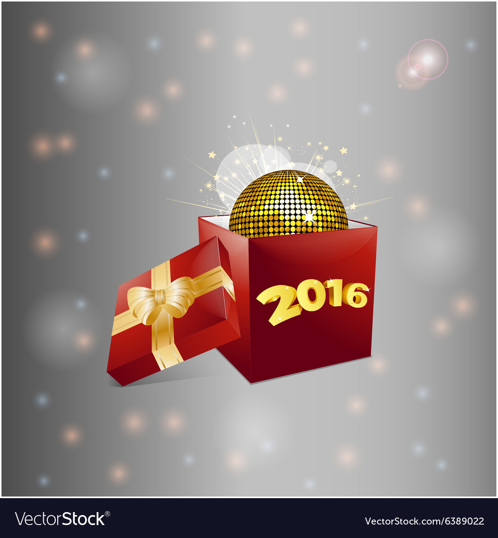 Christmas gift box and disco ball background vector image
