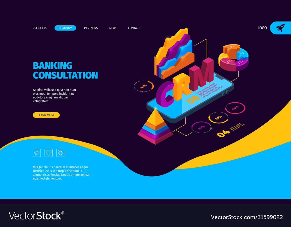 Crm isometric business landing page