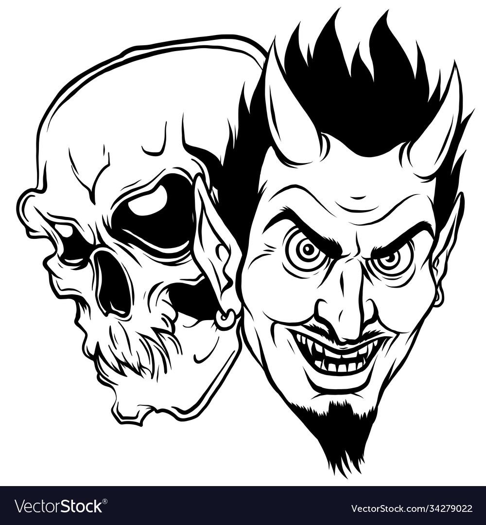 Devil and skull head design