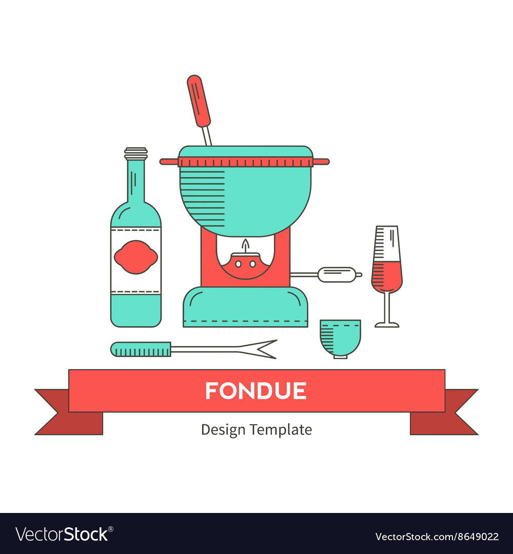 Fondue party Royalty Free Vector Image - VectorStock