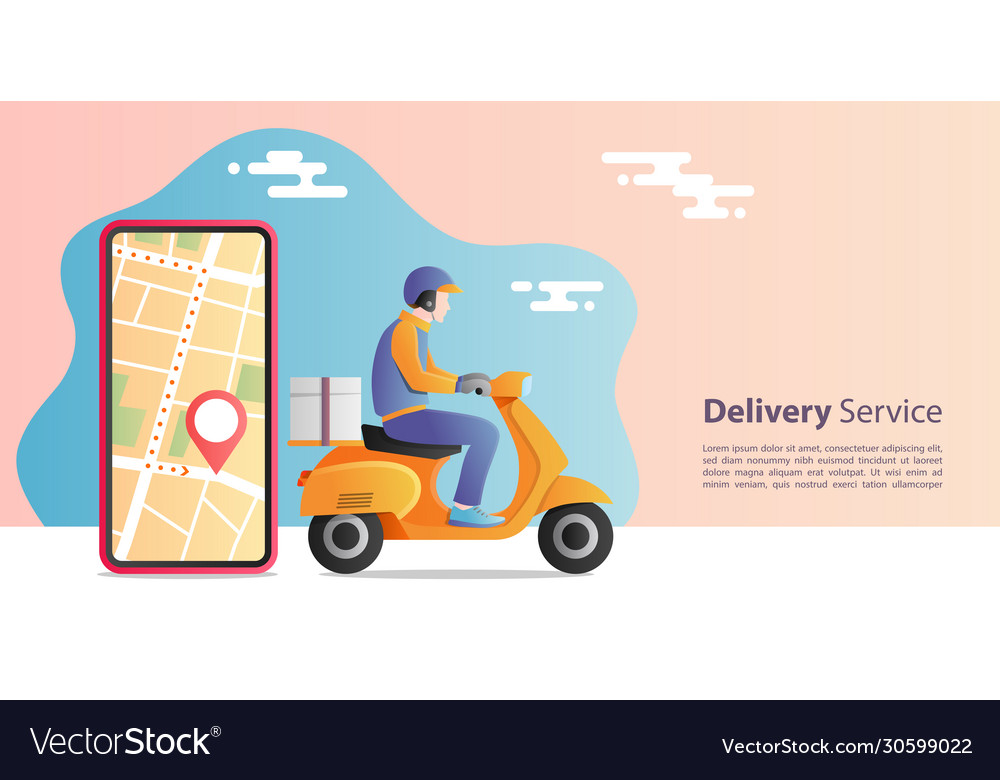 Online express delivery concept delivery man