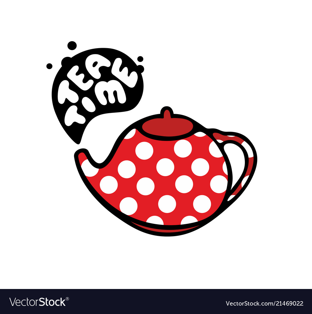 Red teapot with dots pattern
