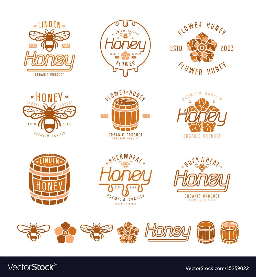Set of honey labels badges and design elements
