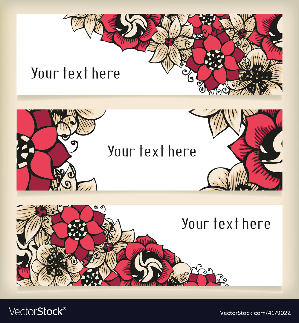 Set of horizontal banners with floral doodling