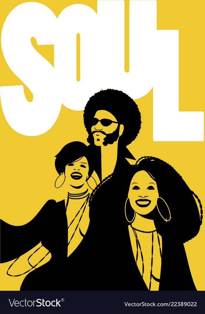 Soul music poster group of man and two girls