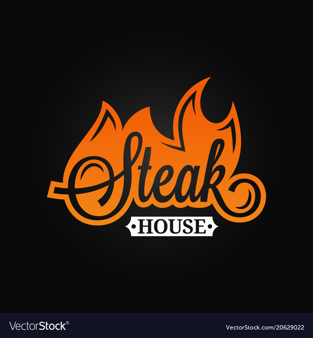 Steak logo flame vintage lettering grill fire on