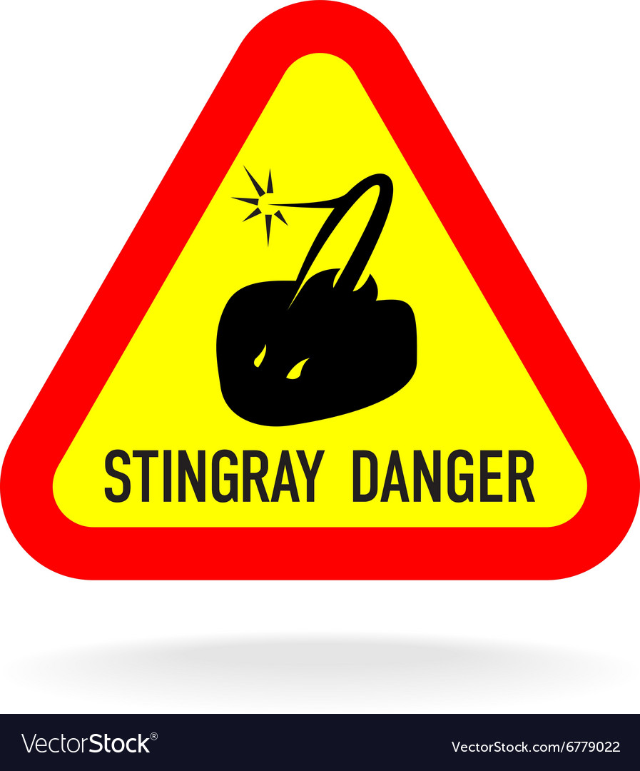 Stingray warning symbol Triangle sign with