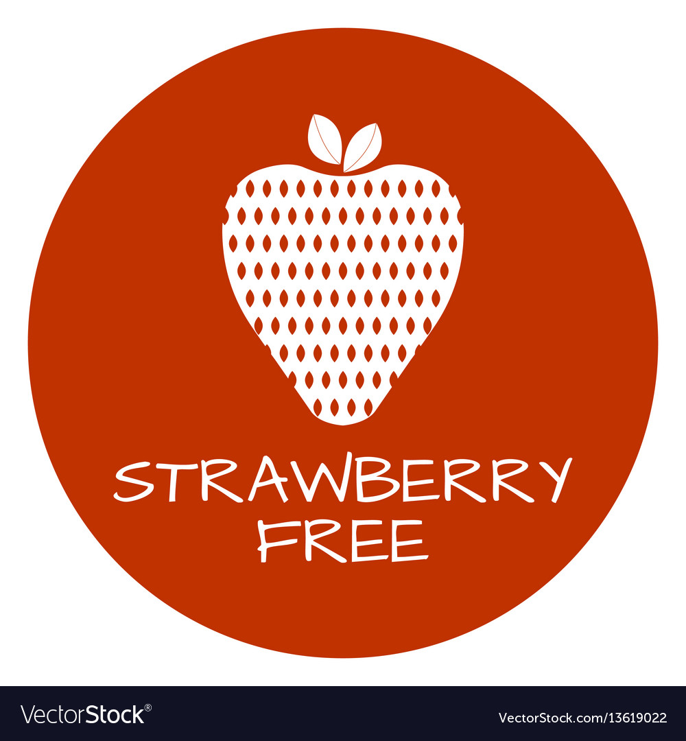 Strawberry free label food intolerance symbols vector image