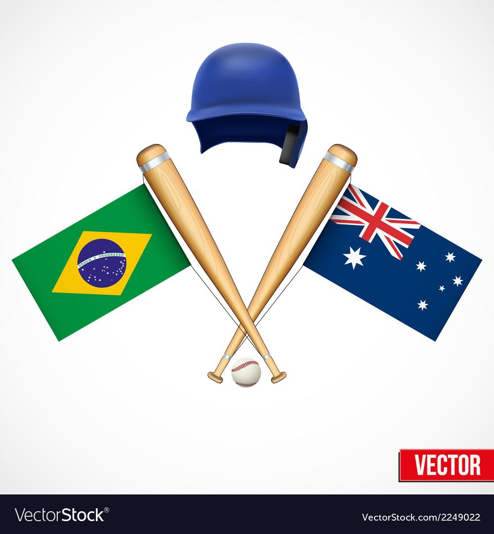 Symbols Of Baseball Team Brazil And Australia Vector Image