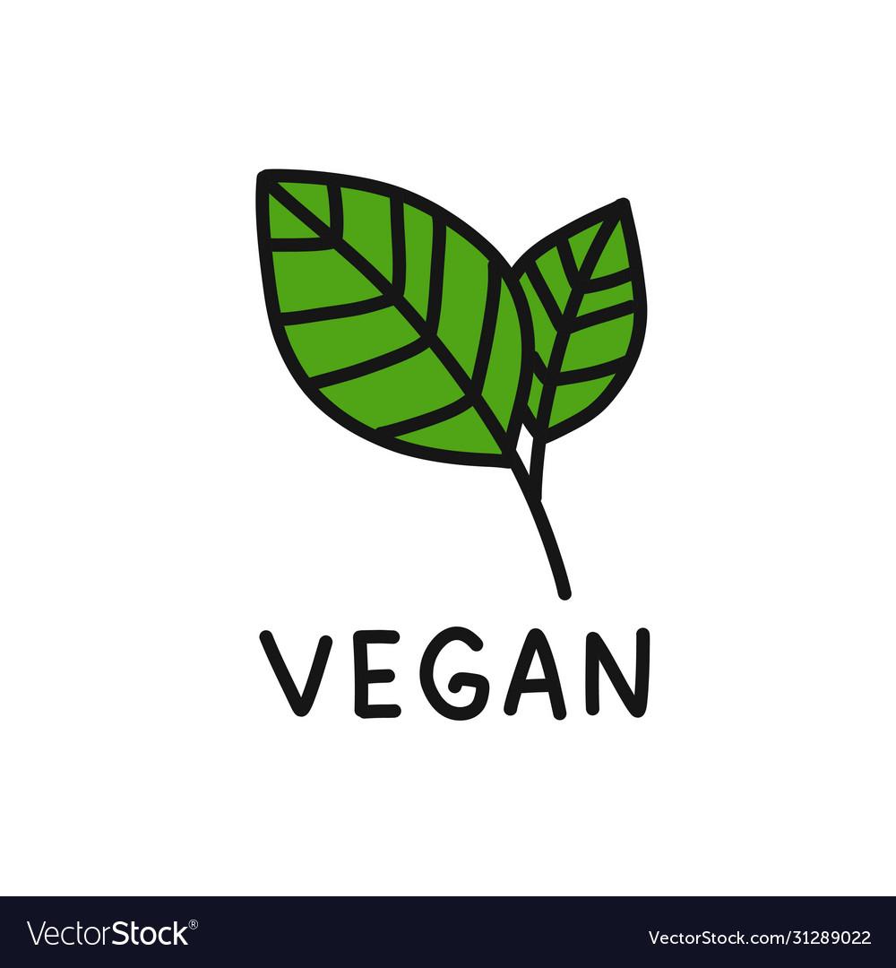 Vegan symbol doodle icon Royalty Free Vector Image