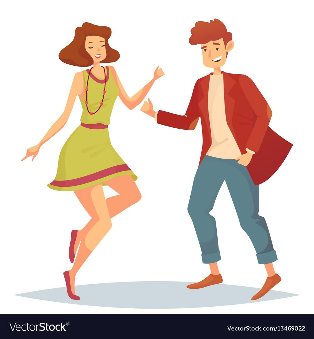 Woman jumping at dancefloor and man dancing