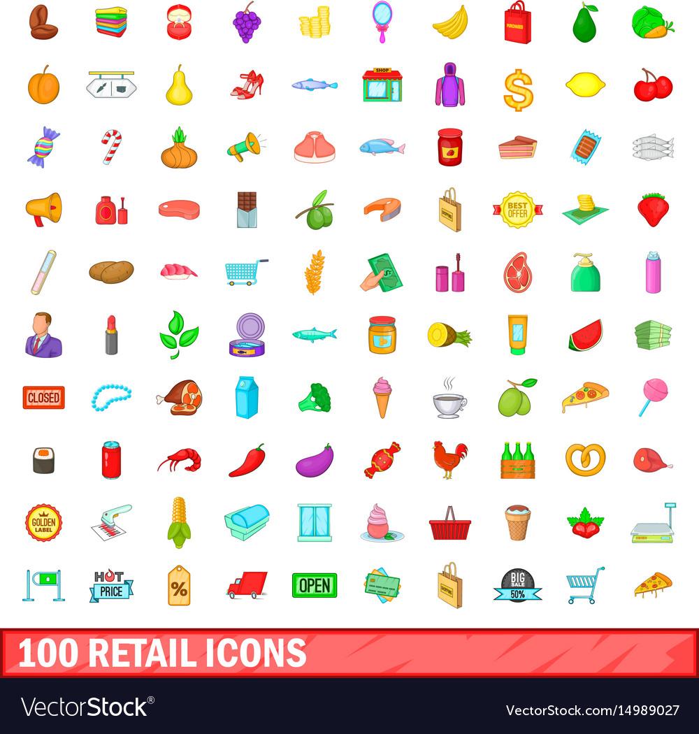 100 retail icons set cartoon style