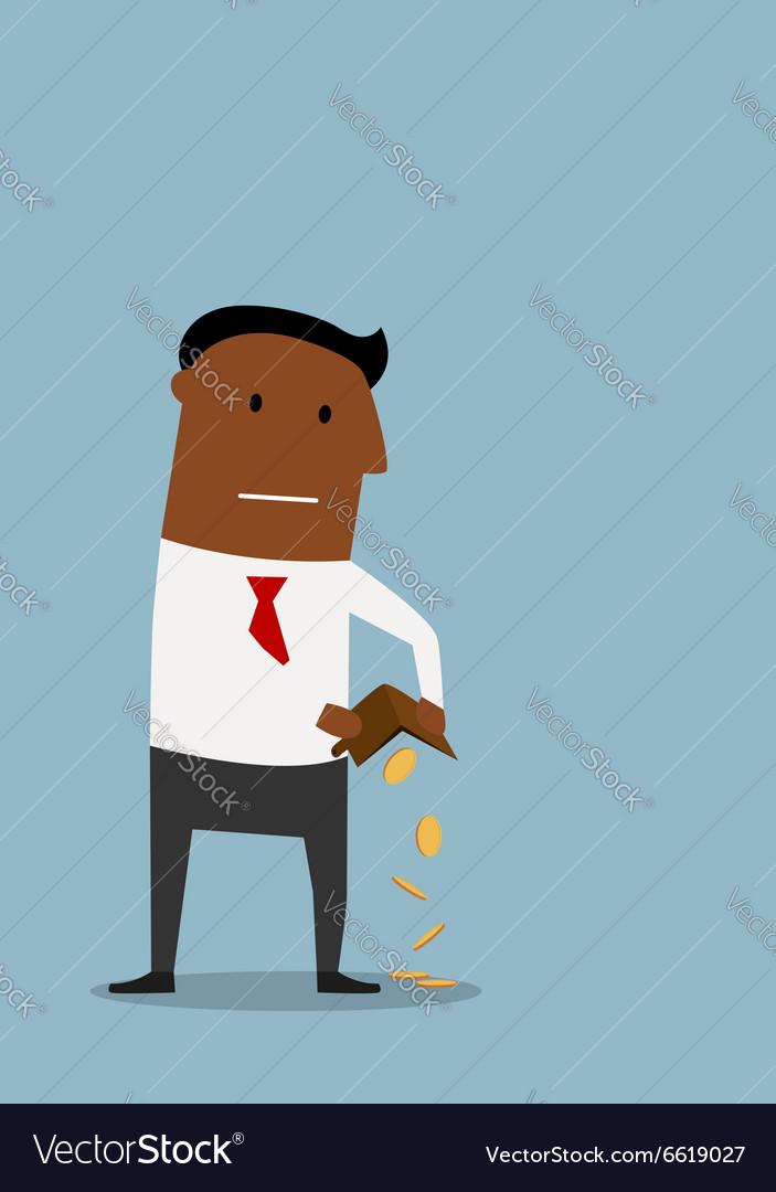 Bankrupt businessman with empty wallet