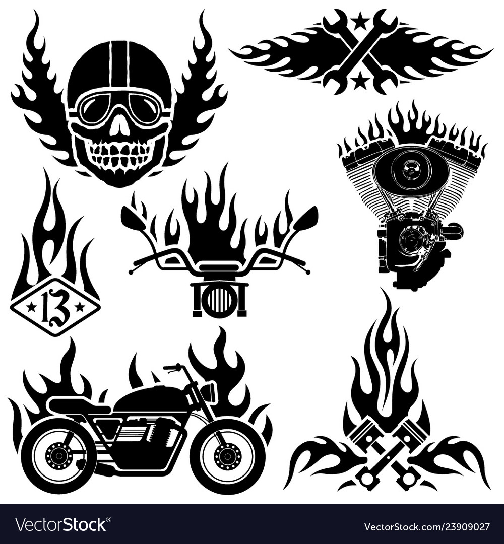 Biker labels and emblems