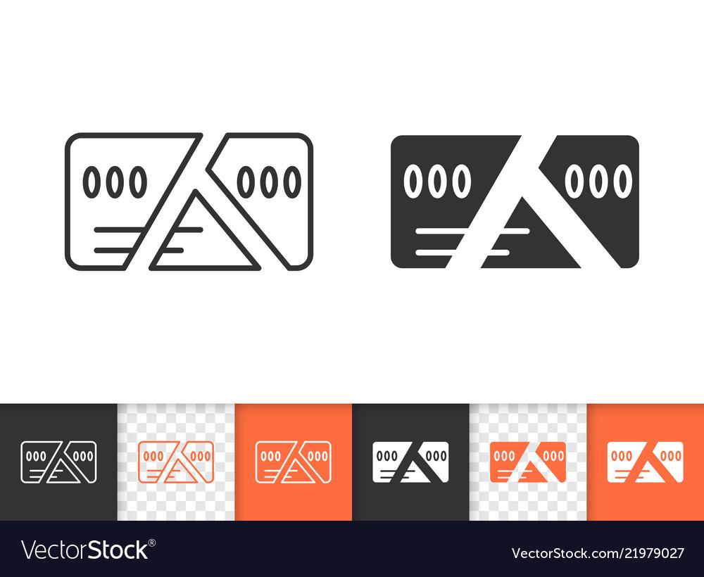 Card cut simple black line icon