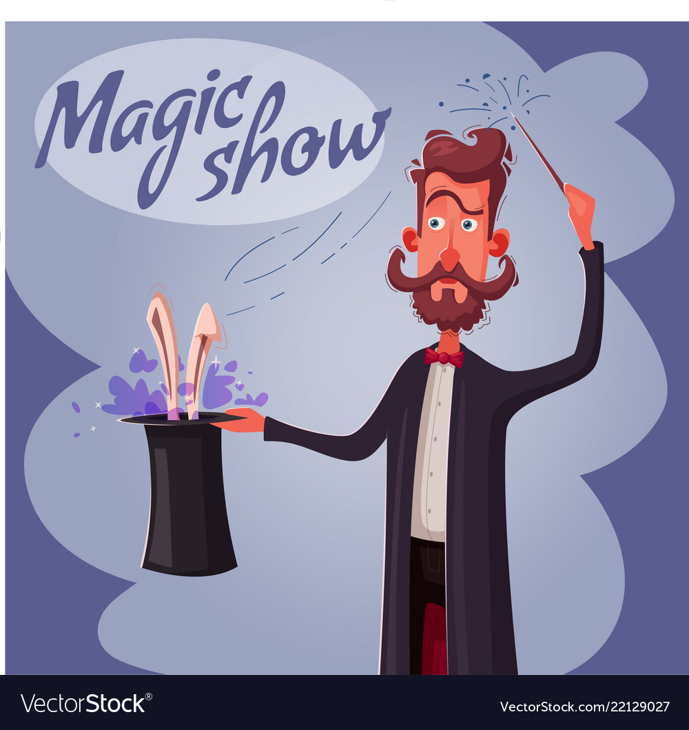 Circus poster with magician