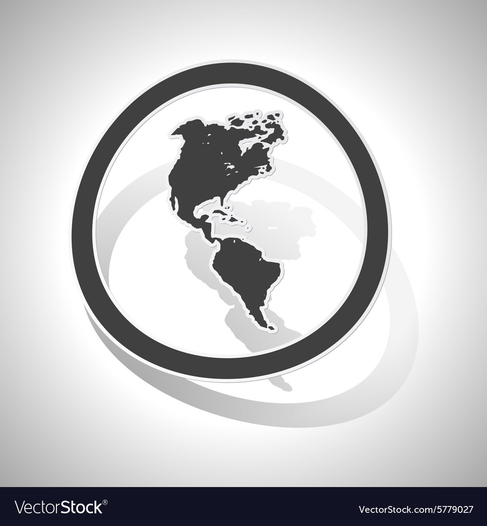 Curved American continents sign icon