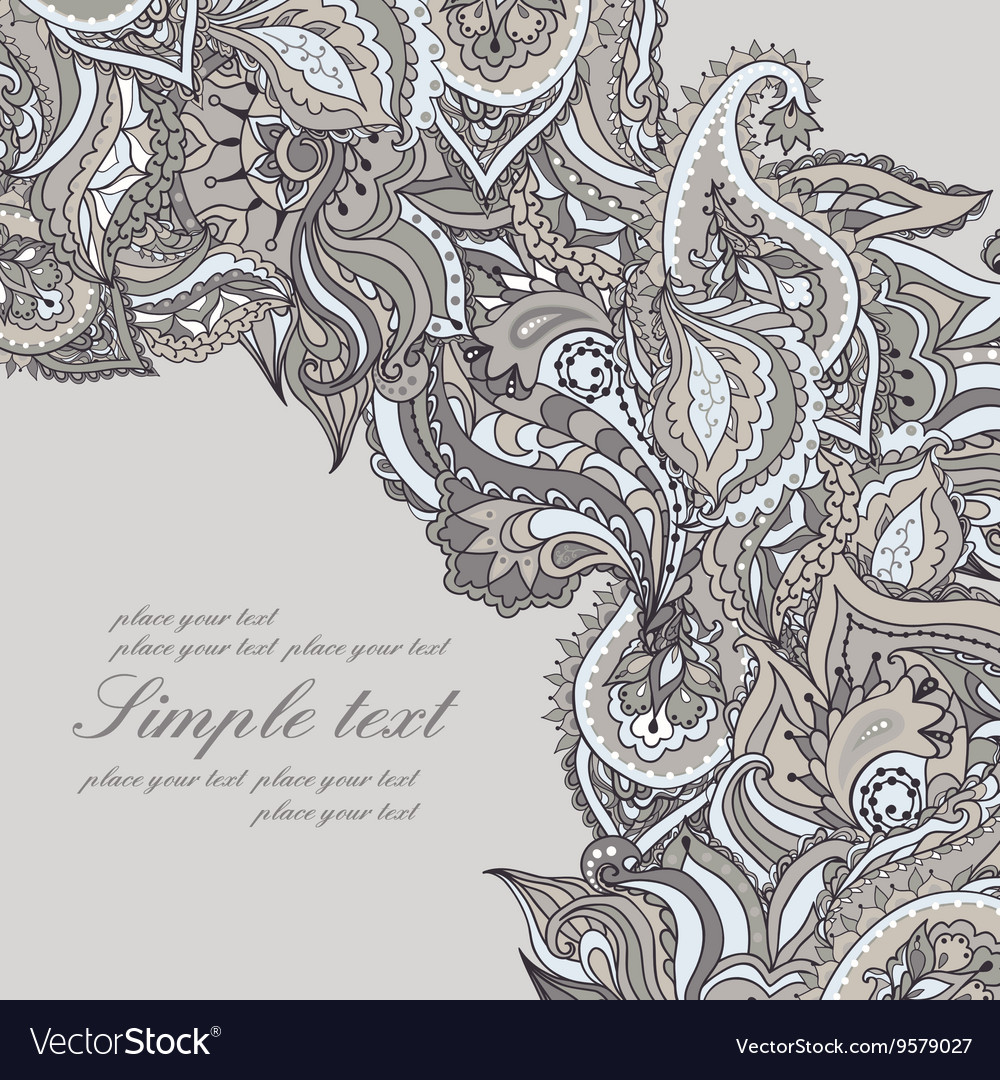 Elegant card with Indian paisley pattern