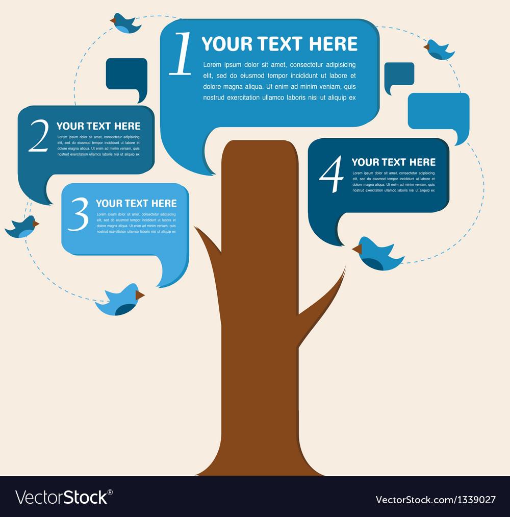 Infographic design speech bubble tree with birds