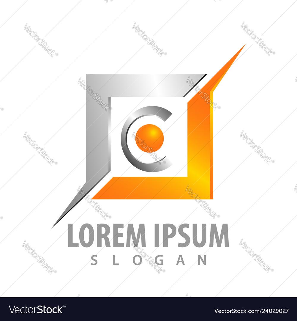Logo concept design shiny square with letter c